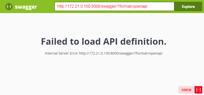 Swagger error message